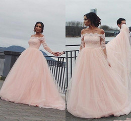 Silver quinceanera dreSSeS online shopping - 2019 Baby Pink Quinceanera Ball Gown Dresses Off Shoulder Lace Appliques Tulle Long Sleeves Sweet Floor Length Party Prom Evening Gowns