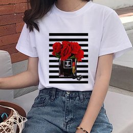 animal print wholesale t shirt Canada - Women Clothes Perfume Bottle Print Flower Sweet Short Sleeve Tshirt Printed Women Shirt T Female T-shirt Top Casual Woman Tee564