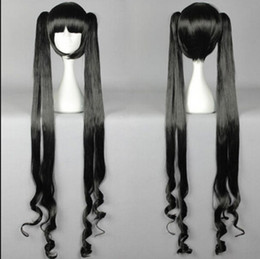 Unique Wigs Australia - WIG LL<<< 003117 Unique Long Black Split Type Hesti Cosplay Wig with Ponytails Anime wig