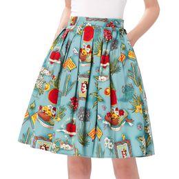2ee53de41 Skirts Womens Jupe Femme Floral Print Retro Cotton Women Skater Midi Skirt  Falda High Waist Short Vintage Pleated Skirt Y19043002