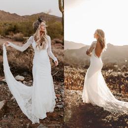 Wholesale boho fashion dresses resale online – Elegant V Neck Lace Boho Mermaid Wedding Dresses Long Sleeves Backless Illusion Ruched Wedding Bridal Gowns Fashion New Wedding Gowns