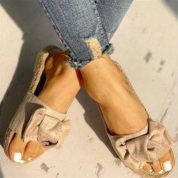 $enCountryForm.capitalKeyWord Australia - Slippers Women Slides Summer Bow Summer Sandals Slipper Indoor Outdoor Linen Flip-flops Beach Shoes Female Fashion Floral Shoes