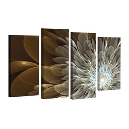 $enCountryForm.capitalKeyWord UK - 4pcs Wealth And Luxury Golden Flowers Painting Print on canvas wedding decoration Modular wall Picture Unframed