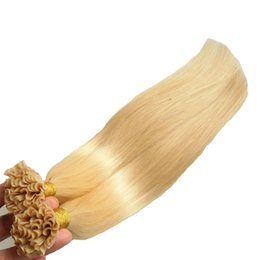 Italian Straight Hair Australia - Italian keratin Fusion Nail U TIP Hair Extensions 100S #613 Bleach Blonde Virgin Malaysian Straight Hair Extensions Pre Bonded Nail Hair