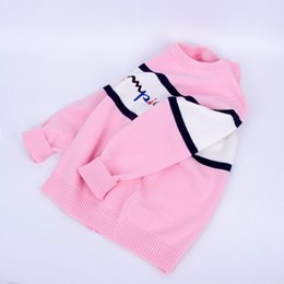 korean kids clothes winter autumn Australia - Korean style 2019 Autumn Winter Boys Girls Sweaters Baby stripe Pullover Knit Kids Clothes Embroidery letters Student Clothing