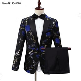 floral suits Australia - 2019 Blue Floral Suits Jacquard Embroidery Floral Birds Pattern For Men Wedding Grooms Bridegroom Suit Slim Fit Singer Costume