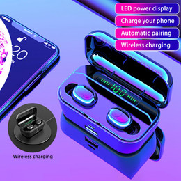 powerbank apple NZ - Wireless Earphone Bluetooth V5.0 TWS Wireless Headphone LED Display With 3500mAh Powerbank Headset 9D Stereo Earphones with Wireless Charger