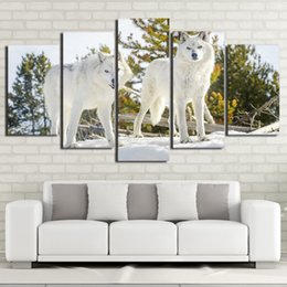 canvas prints free shipping NZ - 5 Panel HD Printed Canvas Art White Wolf Painting Modular Framed Wall Pictures for Living Room Modern Free Shipping
