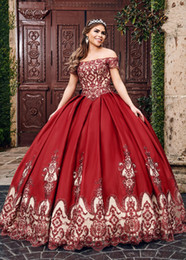 Short royal blue Sweet 16 dreSSeS online shopping - 2020 Wine Red Nude Ball Gowns Vestidos De Quinceanera Dresses Lace Applique Beaded Crystal Off The Shoulder Short Sleeve Sweet Dress Prom