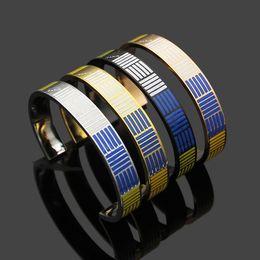 $enCountryForm.capitalKeyWord Australia - Fashion Hot Sale Brand Named Bracelets Lady Titanium Steel 18k Gold Plated Open Bracelet Bangle With Enamel Stripe V Letter Design