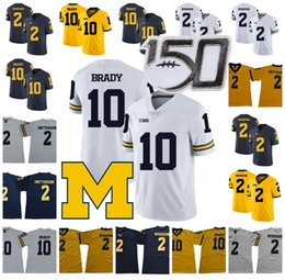 Chinese  Michigan Wolverines 2019 Football 10 Tom Brady Jersey 2 Charles Woodson Shea Patterson NCAA 150TH Stitched manufacturers