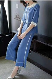 Leg Jacket NZ - Exclusive good quality 2019 spring women's knitted jacket wide leg flare pants two-piece suit female