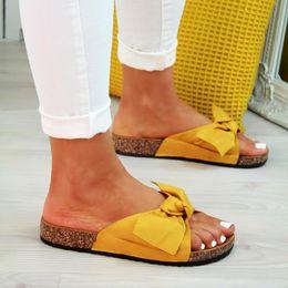 $enCountryForm.capitalKeyWord Australia - 2019 Bow Slippers Women Sommer Summer Sandals Slipper Indoor Outdoor Linen Flip-flops Beach Shoes Female Fashion Floral Shoes