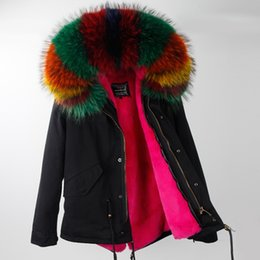 Real Fur Trimmed Jackets Australia - Real pictures shows multicolour raccoon fur trim maomaokong brand rose rabbit fur liner mini black jackets