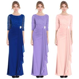 scoop back maxi dress NZ - Angel fashions Women's round Neck Sequin Half Sleeves Mermaid Sheath Maxi Evening Prom Gown Dresses Party Dress 356
