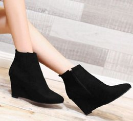 cowgirl charms Australia - New Arrival Hot Sale Specials Super Fashion Influx Cowgirl Winter Female Velvet Cotton Suede Pointed Plus Snow Wedge Ankle Boots EU33-43