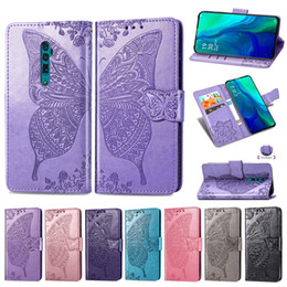 oppo wallet Australia - For OPPO Reno 10x Zoom Case PU Leather with Wallet Card Slots Punched Convex Flower Butterfly Hand Strap(Reno 10x Zoom )