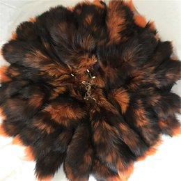 "$enCountryForm.capitalKeyWord Australia - 10pcs 16""-Orange-100% Real Genuine Fox Fur Tail Cosplay Toy Keychain keyring Handbag Accessory"