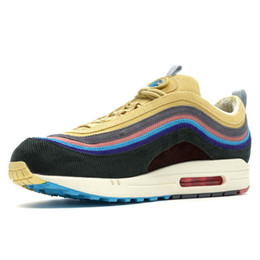 97d9a2859718 97 Sean Wotherspoon Designer Shoes With Box 97s SW Vivid Sulfur Multi  Yellow Blue Hybrid Running Shoes Men Women Sport Sneakers