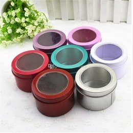 Discount metal sweet boxes - Tin Box Metal Round Colorful Small Wedding Candy Box Sweet Cans Tea Container aa721-728 2017121908