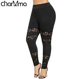 562606735b207 Plus Sexy Fitness Sheer Lace Insert Big Size 5xl Summer Women Workout  Leggings Push Up Legging Q190509