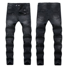 Wholesale hot designer jeans for men resale online – designer HOT Mens Ripped Biker Jeans Slim Fit Motorcycle Biker Denim For Men Fashion Designer Hip Hop Mens Jeans Good Quality
