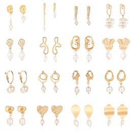 Cool ear studs online shopping - Women Simple Cool Metallic Gold Geometric Irregular Round Square Natural Freshwater Pearl Hollow Ear Stud