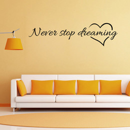 Discount wallpaper decor black - Never Stop Dreaming Letter Stickers Removable Art Vinyl Mural PVC Home Room Decor Wall Stickers Living Room Bedroom Home