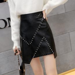 bcaa339a76de Vintage black leather skirt online shopping - Black Women Faux Leather  Short Skirt Rivet Autumn Winter
