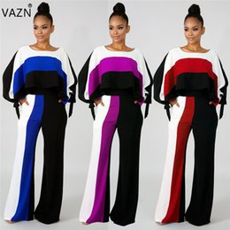 $enCountryForm.capitalKeyWord UK - VAZN 2018 autumn hot 2-pieces print wide leg jumpsuits women full sleeve o-neck jumpsuits ladies hollow out long rompers SMN8300