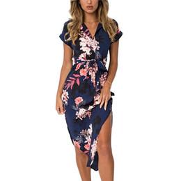 5fdddd85f Floral Print Dress 2019 Boho Summer Women Beach Dresses Irregular Hem Tunic  Bandage Dress Short Sleeve Elegant Midi Party Dress