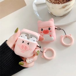 $enCountryForm.capitalKeyWord Australia - For AirPods Case Cute Cartoon Pink Pig Girl Earphone Cases For Apple Airpods 2 Cover Funda with Finger Ring Strap