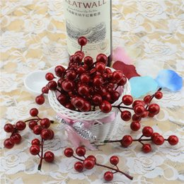 Flowers For Crafting Wholesale Australia - 10pcs(1pcs=7 head) Artificial Berry Bacca Bouquet For Wedding Decoration DIY Garland Rose Simulation Simulation Craft Flowers