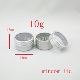 wholesale metal bottle caps NZ - 10g silver aluminum cream jar container with window cap sample metal bottle balm bottle for makeup solid perfume bottles