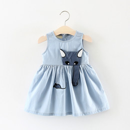 dress embroidery cat NZ - Cotton Baby Girl Designer Clothes With Lovely Cat And Mouse Embroidery Attached Shift Dress Jumper Skirt