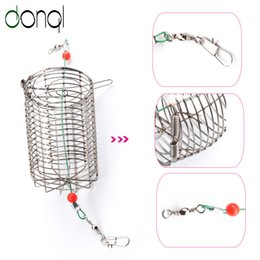 stainless steel fishing lures NZ - Sports & Entertainment 2Pcs lot Stainless Steel Wire Lure Cage Small Bait Cage Fishing Basket Feeder Holder Fishing Tackle
