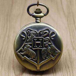 Quartz Box Australia - New Bronze Magic School Quartz Pocket Watch Pendant Necklace Fob Watch Men Women Gift With Box #101928
