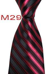 Chinese  Unique JACQUARD WOVEN HANDMADE Mens Black Red Striped Men tie Necktie M29 manufacturers