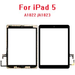 apple ipad touch tablet UK - 10pcs For Apple iPad 5 (2017) A1822 A1823 Touch Screen Digitizer Panel +Home Button+Tesa Tape+Bracket Replacement
