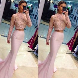 $enCountryForm.capitalKeyWord Australia - Long Prom Dresses 2019 Pink Light Two Pieces 2 Lace Sleeves Sheer High Neckline Trumpet Special Occasion Party Gowns Fast Shipping On Line