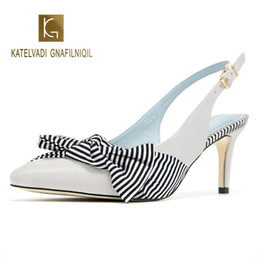 $enCountryForm.capitalKeyWord NZ - Gingham High Sandals Women White PU Leather Butterfly-knot 6CM Heels Ladies Ankle Strap Party Sandalias Mujer K-277