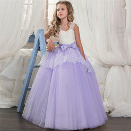 $enCountryForm.capitalKeyWord Australia - Kids Girls Clothes Lace Flower Fancy Bridesmaid Kids Dresses Children Pageant Princess First Holy Long Gowns Pageant Party Communion Cosutme
