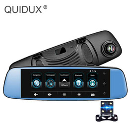 "Discount smart camera recorder - QUIDUX 3G Smart Rearview Mirror Camera Android 8"" Car DVR Touch Video Recorder GPS Bluetooth WIFI ADAS RAM 1G ROM 1"