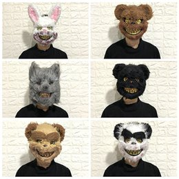 men gifts gadgets UK - Bloody Bunny Mask Masquerade Horror Scary Halloween toys Funny Gadgets Squishy Horror Gag Gifts Funny Bachelor Party Hot prank T200703