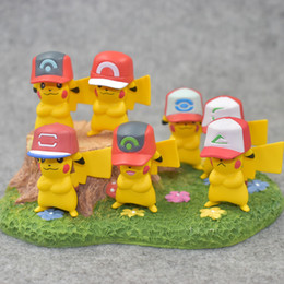 $enCountryForm.capitalKeyWord Australia - 7 designs 20th Anniversary Pikachu action figure with caps toy Monster doll ornaments toys for Children kids chirstmas gifts 3-5cm dolls