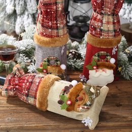 port bottles Australia - Christmas Decorations Dining Table Wine Bottle Decoration Burlap Snowman Bottle Cover Small Decorations Beam Port