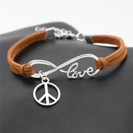 Peace Symbol Pendants Wholesale Australia - New Fashion Causal Antique Silver Peace Symbols Round Cross Charm Pendant Brown Leather Suede Cuff Bracelet for Men Women Peace Sign Jewelry