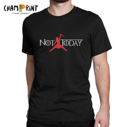 Pink Gift Ideas Australia - Men T-Shirt Not Today Arya Stark Humorous 100% Cotton Tee Shirt Short Sleeve T Shirt O Neck Clothing Gift Idea