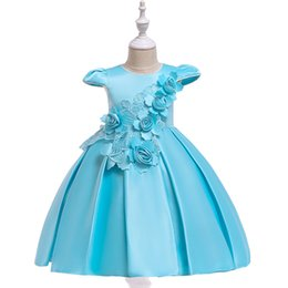 Chinese  Children's New jacquard short-sleeved dress girls stereo flower princess dress satin bow flower girl wedding dress manufacturers
