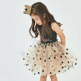 dresses design baby summer 2019 - 2019 summer design baby girls Bronzing star dress children Sleeveless vest Princess lace Tutu Dress fashion kids boutiqu